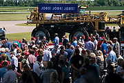 Crowds gather before President Donald Trump's campaign rally at North Star Aviation in Mankato, Minnesota on Monday, Aug. 17, 2020.
