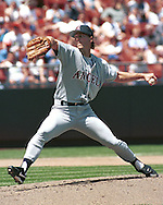 California Angel Mark Langston during game action against the Kansas City Royals at Kauffman Stadium in Kansas City, Missouri in 1995.