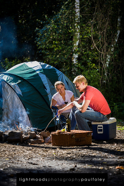 Couple Camping in the Australian Bush, Barrington Tops, NSW.