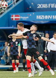 July 1, 2018 - Nizhny Novgorod, Russia - Ante Rebic (R) of Croatia national team and Henrik Dalsgaard of Denmark national team vie for the ball during the 2018 FIFA World Cup Russia Round of 16 match between Croatia and Denmark on July 1, 2018 at Nizhny Novgorod Stadium in Nizhny Novgorod, Russia. (Credit Image: © Mike Kireev/NurPhoto via ZUMA Press)