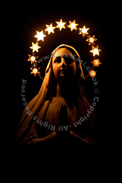 A statue of the Virgin Mary is found in the sacristy of The Church of San Claudio, in Rome, Italy, where Father Igino Troiani, 77, normally carries out exorcisms. He has been an exorcist for around five years.<br /> <br /> FOR MORE INFORMATION PLEASE WRITE TO ALEX@ALEXMASI.CO.UK<br /> <br /> **TEXT AND LENGHTY INTERVIEWS AVAILABLE**