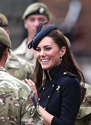 Catherine, Duchess of Cambridge  at Victoria barracks, Windsor where she presented operational medals for Afghanistan to the 1st Battalion Irish Guards, Saturday , 25th June 2011.  Photo by: Stephen Lock / i-Images