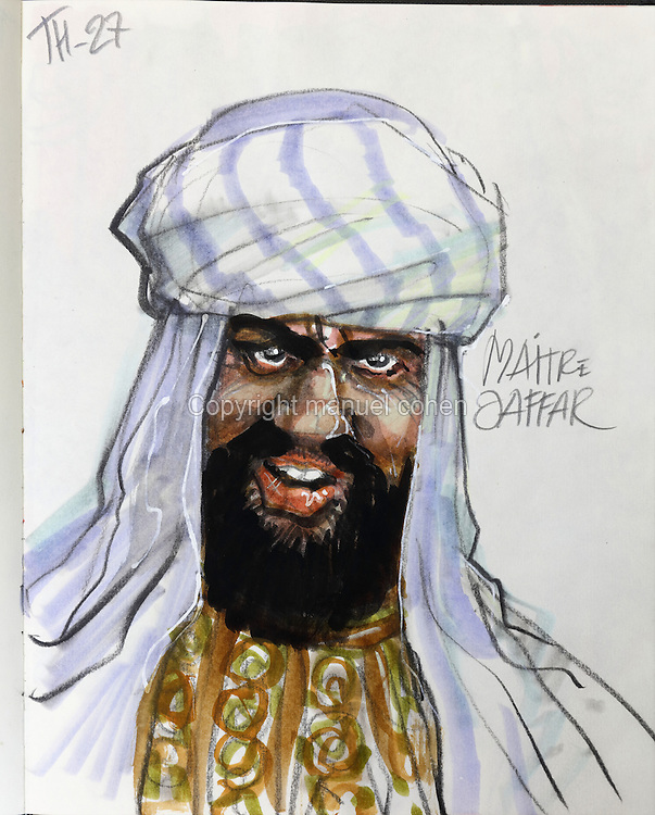 Sketch of Maitre Jaffar, slave trader, from Series 27 Le Barbare or The Barbarian, from a sketchbook used for developing characters, used since 2000, by Grzegorz Rosinski, 1941-, Polish comic book artist. Rosinski was born in Stalowa Wola, Poland, and now lives in Switzerland, and is the author and designer of many Polish comic book series. He created Thorgal with Belgian writer Jean Van Hamme. The series was first published in Tintin in 1977 and has been published by Le Lombard since 1980. The stories cover Norse mythology, Atlantean fantasy, science fiction, horror and adventure genres. Picture by Manuel Cohen / Further clearances requested, please contact us and/or visit www.lelombard.com