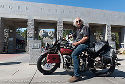 Doug Feinsod on his Indian at Mount Rushmore during the Motorcycle Cannonball coast to coast vintage run. Stage 9 (294 miles) from Pierre to Sturgis, SD. Sunday September 16, 2018. Photography ©2018 Michael Lichter.