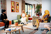 """ROTTERDAM, 03-09-2020 , Buurthuis Thuis in West<br /> <br /> Koningin Maxima tijdens een bezoek aan buurthuis Thuis in West in Rotterdam. Met het project 'Samen ouder in West' wil het buurthuis de eenzaamheid onder ouderen in de wijk tegengaan. <br /> <br /> Queen Maxima during a visit to the Thuis in West community center in Rotterdam. With the project """"Together older in West"""" the community center wants to combat loneliness among the elderly in the neighborhood."""