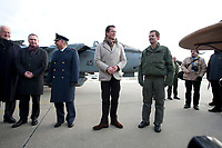 """30 NOV 2010, JAGEL/GERMANY:<br /> Generalleutnant Aarne Kreuzinger-Janik, Inspekteur der Luftwaffe (Mi-L), Karl-Theodor zu Guttenberg (M), CSU, Bundesverteidigungsminister, und Oberst Karsten Stoye (R), Kommodore Aufklärungsgeschwader 51 """"Immelmann"""", vor einem Pressestatement nach der Rueckkehr der in Afghanistan eingesetzten RECCE TORNADO Aufklaerungsjets, Aufklaerungsgeschwader 51 """"Immelmann"""", Fliegerhorst Jagel<br /> IMAGE: 20101130-01-045<br /> KEYWORDS: Bundeswehr, Armee, Luftwaffe"""