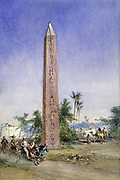 Helipolis - As it Is', 1878. Pencil with water- and body colour. William Simpson (1823-1899) Scottish painter. English tourists galloping donkeys, ignoring antiquities such as Obelisk of Senusert, 20th century BC. Egypt Tourism