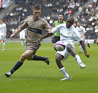 Photo: Matt Bright.<br /> Milton Keynes Dons v Stockport County. Coca Cola League 2. 27/10/2007.<br /> Jamie Smith, of Stockport Llyod Dyer of MK Dons