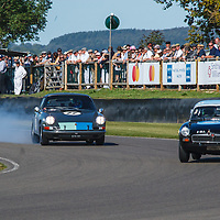 1965 Porsche 911 2-litre driven by Mark Sumpter chasing MGB in the Fordwater Trophy at Goodwood Revival 2019