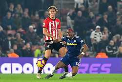 February 27, 2019 - Southampton, England, United Kingdom - Fulham forward Ryan Babel is tackled by Southampton defender Jannik Vestergaard during the Premier League match between Southampton and Fulham at St Mary's Stadium, Southampton on Wednesday 27th February 2019. (Credit Image: © Mi News/NurPhoto via ZUMA Press)