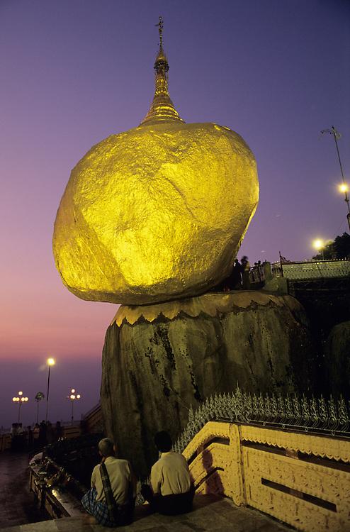 Kyaiktiyo Pagoda, Golden Rock, dusk with worshipers.