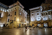 Plaza San Felipe and Torreon Fortea building, Zaragoza by Night, Saragossa, Spain