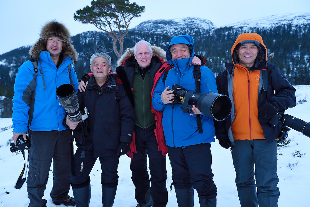 Wildlife watching an photography visitors/ecotourists from China, Mr Liu, Mr Chen Jianwei, Staffan Widstrand, Mr Xie Jianguo, and Mr Sun, Flatanger, Nord-Tröndelag, Norway