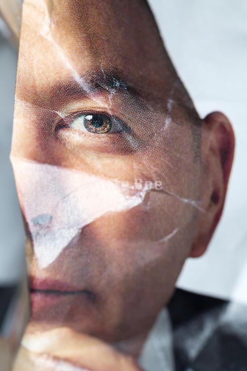 crumpled magazin print man portrait