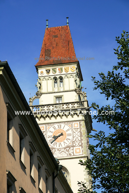 The neo gothic clock tower of the old town hall in Passau, Germany