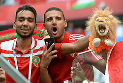 June 15, 2018 - St. Petersburg, Russia - Russia, St. Petersburg, on June 15, 2018. 2018 FIFA World Cup Russia. The match of the group stage of the FIFA World Cup - 2018 between national teams of Morocco and Iran. In the picture: fans of the national team of Morocco. (Credit Image: © Andrey Pronin via ZUMA Wire)