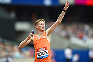 Tom Bosworth of Great Britain wins the Men's 3000m Race Walk and celebrates during the Muller Anniversary Games, Day One, at the London Stadium, London, England on 21 July 2018. Picture by Martin Cole.
