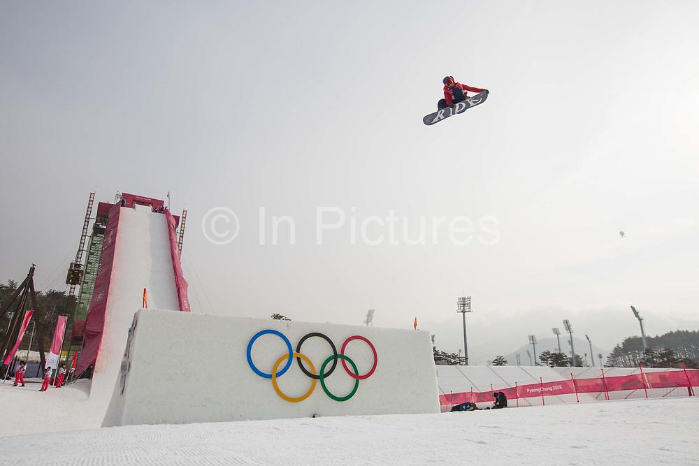 Billy Morgan, Great Britain, during the mens snowboard big air final practice at the Pyeongchang 2018 Winter Olympics on 24th February 2018, at the Alpensia Ski Jumping Centre in Pyeongchang-gun, South Korea