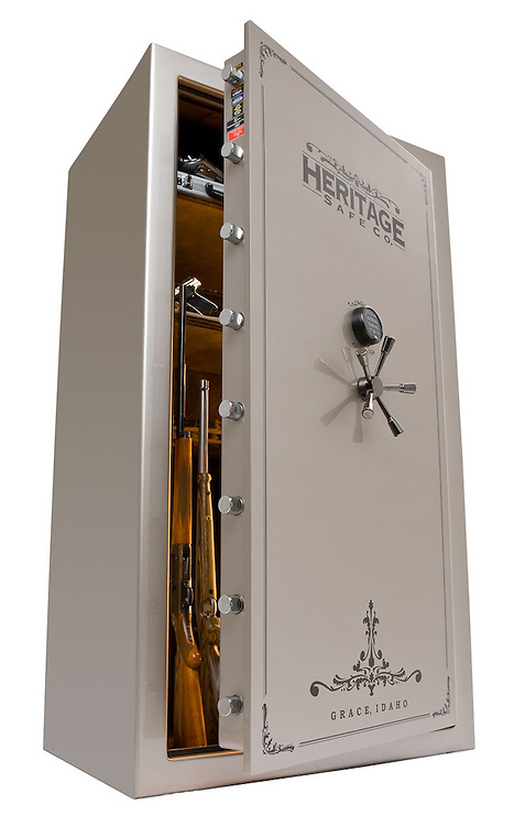 Heritage Safes are big, heavy and most are very reflective on the surface. Lots of work goes into shooting a safe like this.