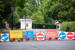 © Licensed to London News Pictures. 29/05/2019. London, UK. Road signs indicate road closures around Winfield House, the US Ambassador's residence in central London, where President of the United States Donald Trump and his wife Melania Trump will host a dinner during their forthcoming State Visit to the United Kingdom. Photo credit: Rob Pinney/LNP