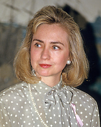 First lady Hillary Rodham Clinton makes remarks at the launch of the 'Pink Ribbon' Breast Cancer Awareness Campaign in the Diplomatic Room of the White House in Washington, D.C. on Thursday, May 13, 1993. Credit: Ron Sachs / CNP