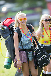 Veronica Sardecka and Emma Jane Grant. The opening of the T in the Park 2015 campsite for the very first year at its new home at Strathallan Castle.