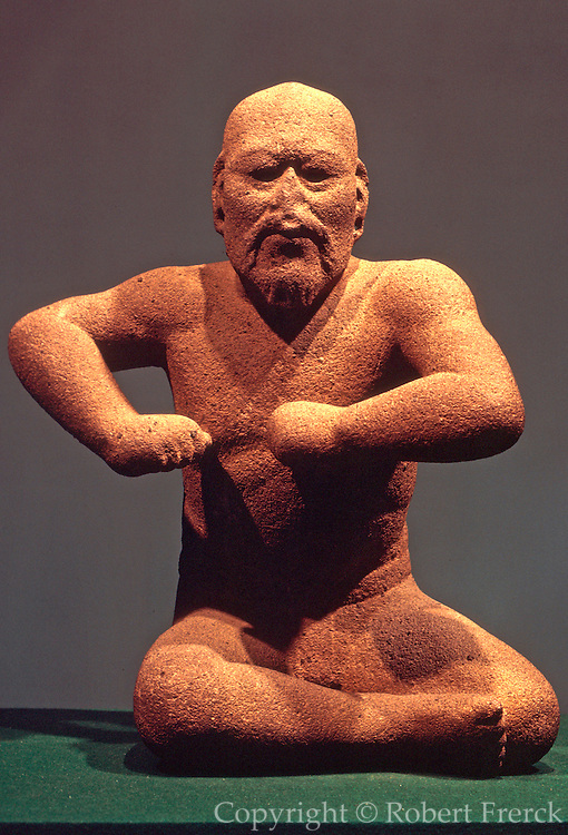 MEXICO, MEXICO CITY, MUSEUM Olmec Cultue; 'Wrestler' sculpture