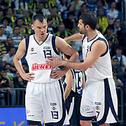 Fenerbahce's Sarunas JASIKEVICIUS (L) and Omer ONAN (R) during their Turkish Basketball Legague Play-Off semi final first match Fenerbahce between Efes Pilsen at the Sinan Erdem Arena in Istanbul Turkey on Tuesday 24 May 2011. Photo by TURKPIX
