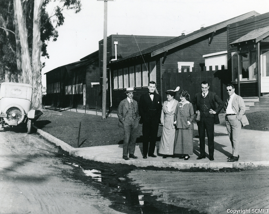 1915 Clune Studios on Melrose Ave. (L to R) Albert Kaufman, Harold Lockwood, Lottie Pickford, Mary Pickford, Donald Crisp & Alan Dwan