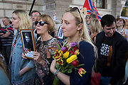 Russians and Russian-speakers from around the Russian Federation and former Soviet states (such as the Baltics) and of all generations, celebrate Victory Day, the annual commemoration remembering the sacrifice of Red Army heroes who defeated fascism during WW2 - marching through the heart of British government in Whitehall, Parliament Square and ending outside Parliament itself, on 9th May 2018, in London, England.
