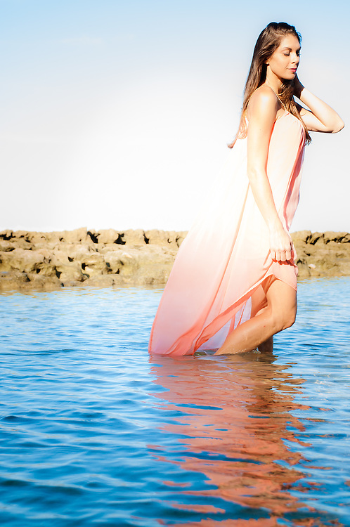 Woman in Dress Sun-lite Wading