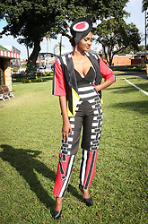 07062018 (Durban) Nevadha Van Day ar showing off her outfit at the Vodacom Durban July flowing like water among the massive crowd expected at Greyville Racecourse in Durban for the running of the R4.25 million, Grade 1, Vodacom Durban July, the greatest racing, fashion and entertainment extravaganza on the African continent.<br /> Picture: Motshwari Mofokeng/African News Agency/ANA