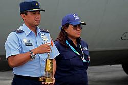 August 1, 2018 - Pekanbaru, Riau, Indonesia - Asian Games torch relay landing at Roesmin Nurjadin Air Force Base in Pekanbaru, Riau, Indonesia. Indonesia is hosting Asian Games 2018 begins on August 18, 2018 in Jakarta & Palembang. (Credit Image: © Dedy Sutisna via ZUMA Wire)