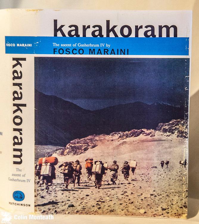 KARAKORAM, The ascent of Gasherbrum IV - Fosco Maraini, Hutchinson, London, 1961 1st Uk edn., VG+ 320 page hardback in original  cream cloth, gilt titles, facsimile jacket,  B&W and colour plates, maps, line drawings - absolute classic of Karakoram mountaineering
