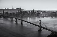 Classic SF Skyline with Bay Bridge II (monochrome)