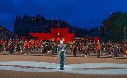 Edinburgh, Scotland, UK. 1 August, 2019. Preview opening night of the 2019 Royal Edinburgh Military Tattoo, performed on the esplanade at Edinburgh Castle. This is the Tattoo's 69th year and it runs from 2-24 August. Pictured the Massed Pipes and Drums