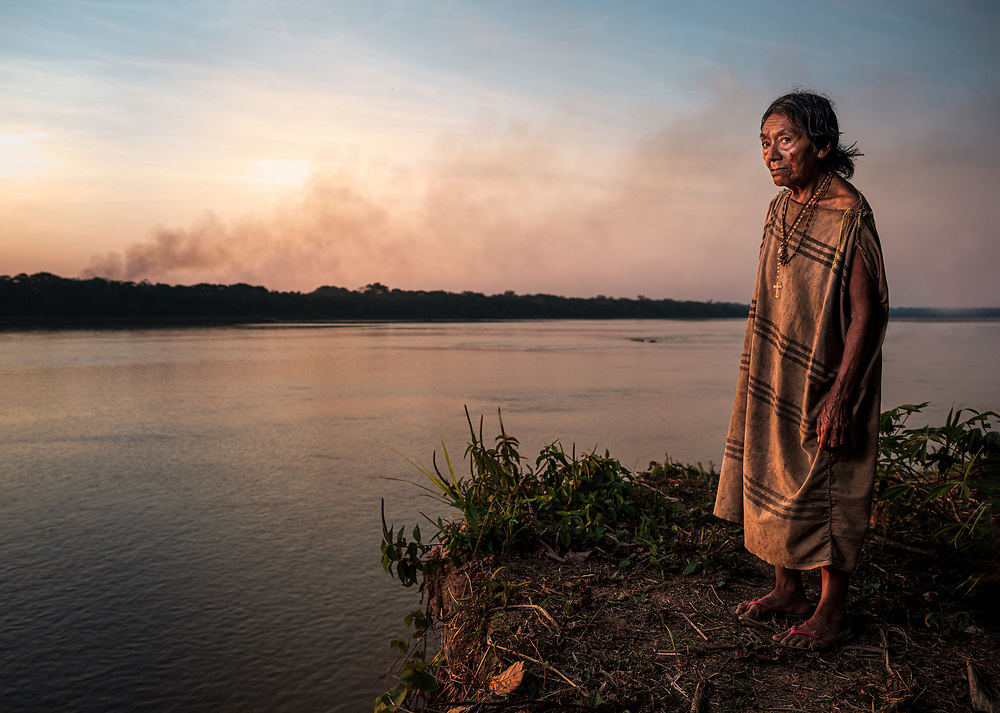 PUERTO MALDONADO, PERU - CIRCA SEPTEMBER 2019: Portrait of an old woman of the tribe Machiguenga in the Peruvian Amazon.