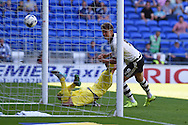 Matt Smith of Fulham ©  scores his teams 1st goal. Skybet football league championship match, Cardiff city v Fulham at the Cardiff city stadium in Cardiff, South Wales on Saturday 8th August  2015.<br /> pic by Andrew Orchard, Andrew Orchard sports photography.