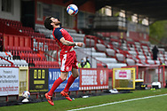Stevenage midfielder Romain Vincelot(4) warming up during the EFL Sky Bet League 2 match between Stevenage and Cheltenham Town at the Lamex Stadium, Stevenage, England on 20 April 2021.