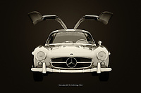 Black and white version of the legendary Mercedes 300SL Gullwings from 1964 <br />