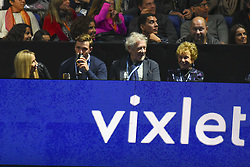 November 18, 2017 - London, England, United Kingdom - Sir Ian McKellen (C) watches the Doubles Semi Final match between Ryan Harrison of the United States and Michael Venus of New Zealand and Marcelo Melo of Brazil and Lukasz Kubot of Poland during day seven of the Nitto ATP World Tour Finals at O2 Arena on November 18, 2017 in London, England. (Credit Image: © Alberto Pezzali/NurPhoto via ZUMA Press)