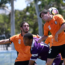 BRISBANE, AUSTRALIA - JANUARY 8: Joe Caletti of the Roar heads the ball during the round 8 Foxtel National Youth League match between the Brisbane Roar and Perth Glory at AJ Kelly Field on January 8, 2017 in Brisbane, Australia. (Photo by Patrick Kearney/Brisbane Roar)