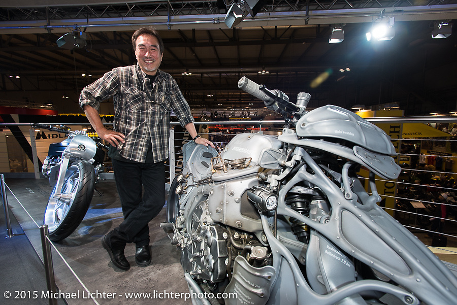 Custom bike builder Keiji Kawakita of Hot Dock in Tokyo with his BMW custom commission at EICMA, the largest international motorcycle exhibition in the world. Milan, Italy. November 17, 2015.  Photography ©2015 Michael Lichter.