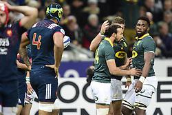 November 18, 2017 - Paris, France, France - joie des joueurs sud Africains apres l essai de Dillyn Leyds  (Credit Image: © Panoramic via ZUMA Press)