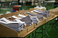 Ballotpapers stacked at The vote count for the 2016 Irish General Election at RDS, Dublin, Ireland. Saturday 27th February 2016. Photographer: Doreen Kennedy