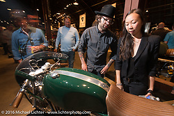 Revival Cycles Andy James Dio at the Friday night grand opening of the Handbuilt Motorcycle Show. Austin, TX, USA. April 8, 2016.  Photography ©2016 Michael Lichter.