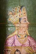 Hindu painting at a temple near Bikaner, Rajasthan, India