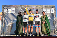 Podium, CAVENDISH Mark (GBR) Silver Grey Points Jersey, BOASSON HAGEN Edvald (NOR) Yellow Leader Jersey, ANDERSEN Soren Kragh (DEN) White Young Jersey, during the 15th Tour of Qatar 2016, Stage 3, Lusail Circuit - Lusail Circuit (11,4Km)/ Time Trial, on February 10, 2016 - Photo Tim de Waele / DPPI