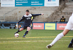 Falkirk's Mark Millar scoring their fourth goal from a free kick.<br /> Raith Rovers 2 v 4 Falkirk, Scottish Championship game today at Starks Park.<br /> © Michael Schofield.