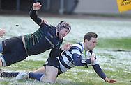 JP License<br /> BT Premiership Rugby<br /> Boroughmuir v Heriots, Meggetland, Edinburgh.<br /> <br /> Charlie Simpson scores a try for Heriots despite Muirs  Andy Rose<br /> <br /> <br /> <br /> <br />  Neil Hanna Photography<br /> www.neilhannaphotography.co.uk<br /> 07702 246823